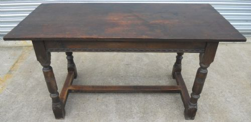 Antique Jacobean Style Oak Refectory Dining Table - SOLD